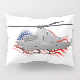 Grey Attack Helicopter with American Flag Pillow Sham