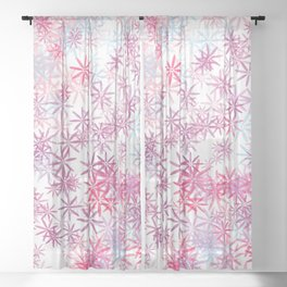 Artsy modern pink lavender teal watercolor floral Sheer Curtain