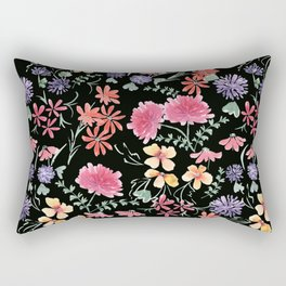 Bright flowers on a black background. Rectangular Pillow