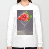 cocktail Long Sleeve T-shirts featuring Strawberry cocktail  by Nobra