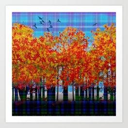 Fall Leaves On Plaid Art Print