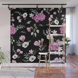 Magnolias, anemones, geranium and eucalyptus Wall Mural