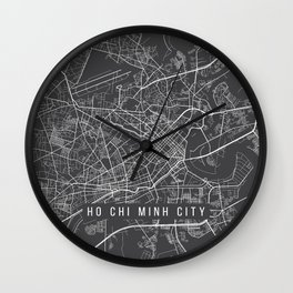 Ho Chi Minh City Map, Vietnam- Gray Wall Clock