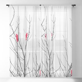 Artistic Bright Red Birds on Tree Branches Sheer Curtain