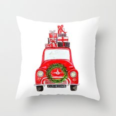 Red Christmas Car - white  Throw Pillow