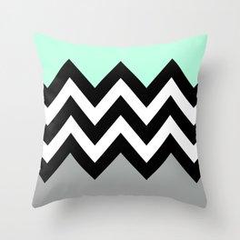 DOUBLE COLORBLOCK CHEVRON {MINT/BLACK/GRAY} Throw Pillow