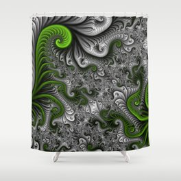 Fantasy World, abstract Fractal Art Shower Curtain
