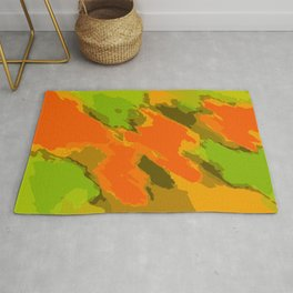 orange brown and green painting abstract background Rug