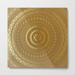 Gold Mandala. Indian decorative pattern. Metal Print