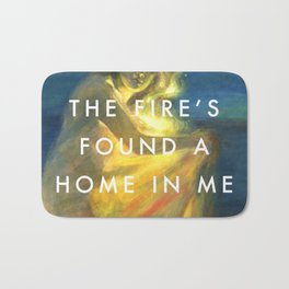 Woman Clothed with the Yellow Flicker Beat Bath Mat