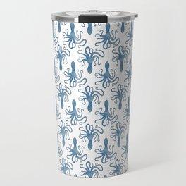Octopus blue watercolor pattern - Lo Lah Studio Travel Mug