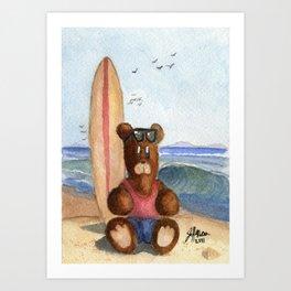 Surfer Bear Art Print