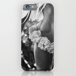 Mahalo!  Hawaiian Lei blond female portrait black and white photography - photographs iPhone Case