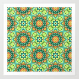 Floral Tile in Turquoise and Orange Art Print