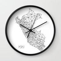 peru Wall Clocks featuring Mapa Peru by Romivavi