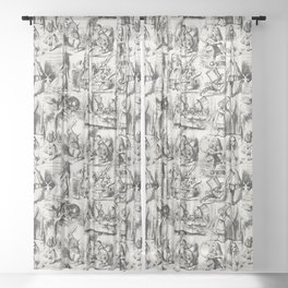 Alice in Wonderland | Toile de Jouy Pattern | Black | Beige | Vintage Pattern | Victorian Gothic | Sheer Curtain