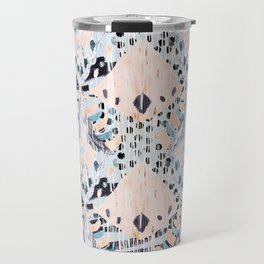 watercolor IKAT collage, mixed media, pastel pattern, pink, indigo, grey, black, sky blue Travel Mug