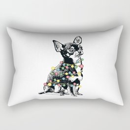 Chihuahua dog with colorful festoon Rectangular Pillow