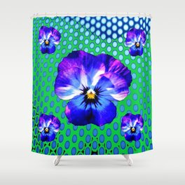 PURPLE PANSIES MODERN BLUE-GREEN ART Shower Curtain