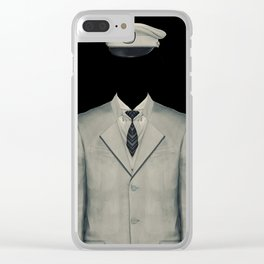 Surreal Officer Man Portrait Clear iPhone Case