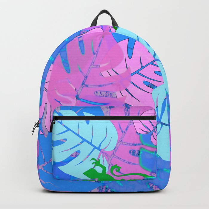 Monstera and Lizards in Blue Backpack