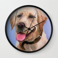 labrador Wall Clocks featuring Labrador by OLHADARCHUK