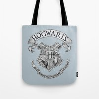 hogwarts Tote Bags featuring Hogwarts by Cécile Pellerin