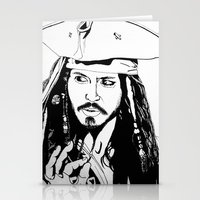 jack sparrow Stationery Cards featuring Captain Jack Sparrow by Evanne Deatherage