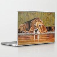 kris tate Laptop & iPad Skins featuring Basset Hound: Tate by Julie Lemons