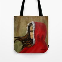 red hood Tote Bags featuring Red Riding Hood by Alannah Brid