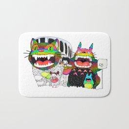 Totoro fan art (cat bus) by Luna Portnoi Bath Mat