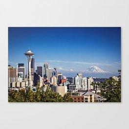 Seattle Overlook with Mt Rainier Canvas Print