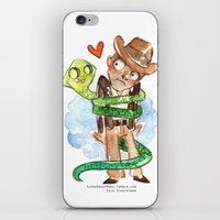 indiana jones iPhone & iPod Skins featuring Snake Hug Indiana Jones by Super Group Hugs