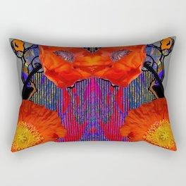 Modern Art Nouveau Fiery Orange Poppy Flowers Purple Art Rectangular Pillow