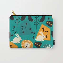 Mid-century pattern with bunnies Carry-All Pouch