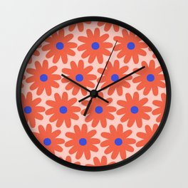 Crayon Flowers 4 Cheerful Smudgy Floral Pattern in Coral and Bright Blue on Millennial Pink Wall Clock