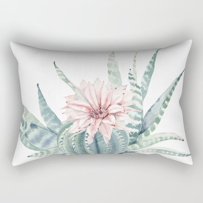 Petite Cactus Echeveria Rectangular Pillow