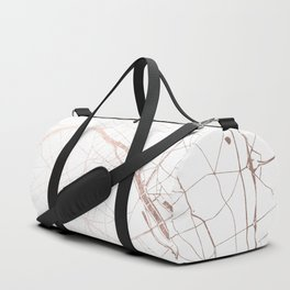 Paris France Minimal Street Map - Rose Gold Glitter Duffle Bag