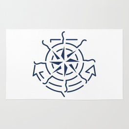 Nautical minimal lineart symbols combination Rug
