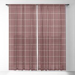 Windowpane Check Grid (white/maroon) Sheer Curtain