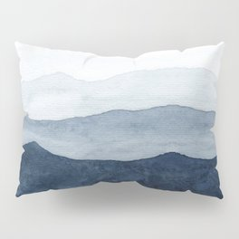 Indigo Abstract Watercolor Mountains Pillow Sham