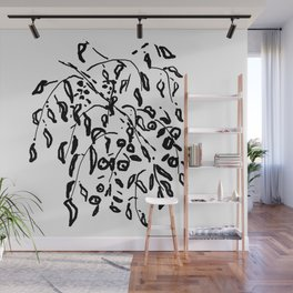 Wisteria Hysteria Black Ink Drawing  Wall Mural
