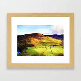 Looking Down to Buttermere Valley, Lake District, UK.  Watercolor Painting Framed Art Print