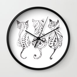 Trio of Cats Wall Clock