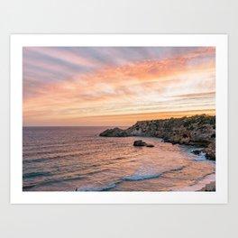 Sunset at Paradise Beach   Orange Sky   Travel Photography Art Print