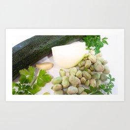 Zucchini, onion, garlic, parsley and beans Art Print