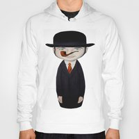 magritte Hoodies featuring omaggio a Magritte by beatrice alegiani