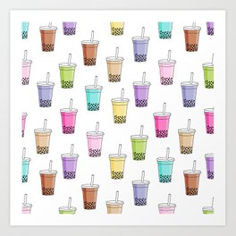 Bubble tea pattern - cute food pattern, cute food, food design, colorful Art Print