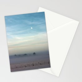 Snow, mist and moon Stationery Cards