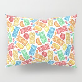 Gummies Galore - A rainbow of hand-drawn fruity flavored gummies and jelly beans Pillow Sham